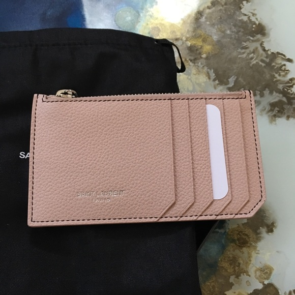 hot sales b2ae5 d5d88 Saint Laurent YSL Zip Around Pouch Card Case Pink NWT